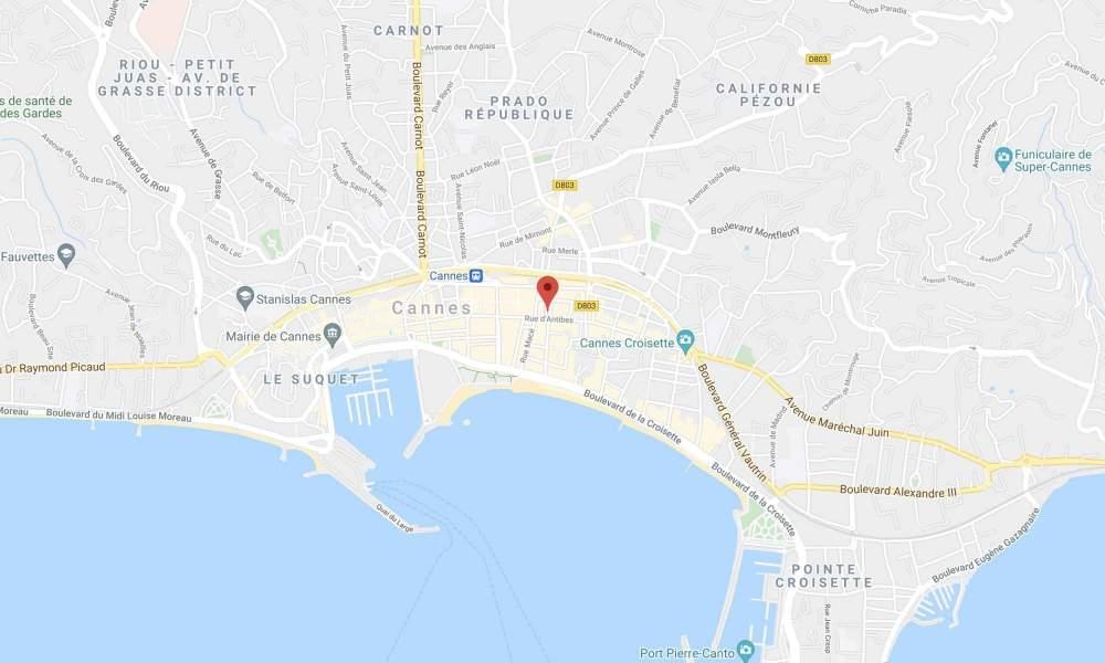 Map, Hotel 4 étoiles Rue D'Antibes à Cannes